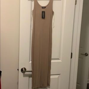 NWT fashionnova midi tank dress; khaki color